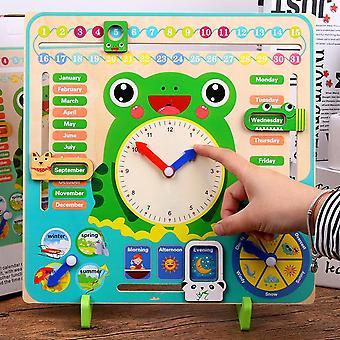 Drewniane Montessori, Clock Kalendarz Pogoda Sezon Miesiąc Cognitive Board Dzieci