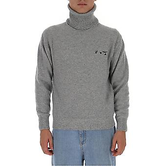 Off-white Omhf018f20kni0010910 Männer's Grau Wolle Pullover