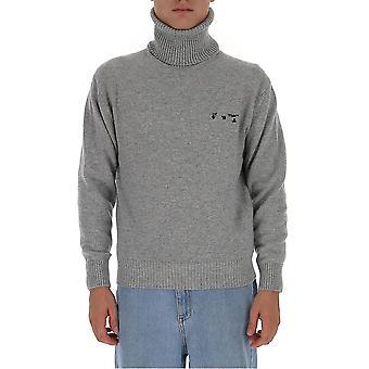 Off-white Omhf018f20kni0010910 Men's Grey Wool Sweater