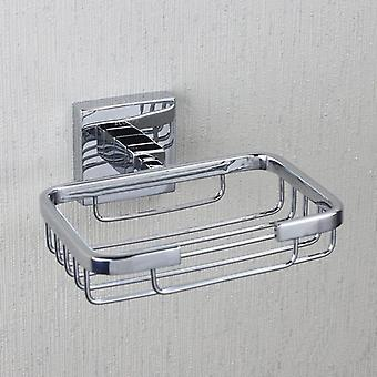 ECOSPA Modern Wired Square Soap Basket Dish in Chrome