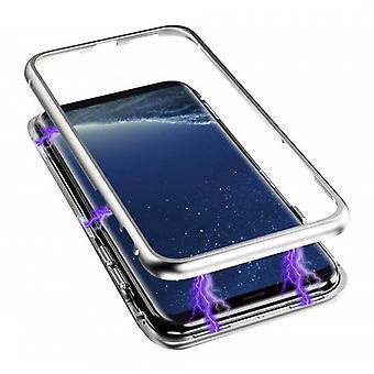 Stoff zertifiziert® Samsung Galaxy A8 2018 magnetische 360 ° Fall mit gehärtetem Glas - Ganzkörper-Cover-Etui + Bildschirmschutz Silber