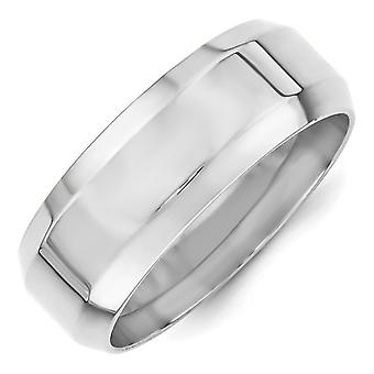 14k White Gold 8mm Bevel Edge Comfort Fit Band Ring Jewely Gifts for Women - Ring Size: 4 a 14