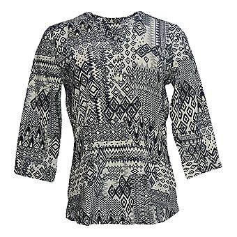 Denim & Co. Women's Top Textured Knit Y-Neck Henley Black A375260