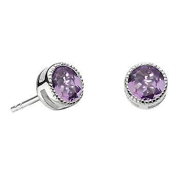 Dew Sterling Silver Vintage Amethyst Stud Earrings 3710AM024