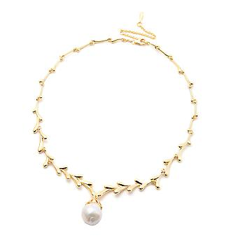 LucyQ Freshwater White Pearl Drip Design Necklace in Yellow Gold Plated Silver
