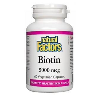 Luonnolliset tekijät Biotiini, 5000 mcg, 60 Veg Caps
