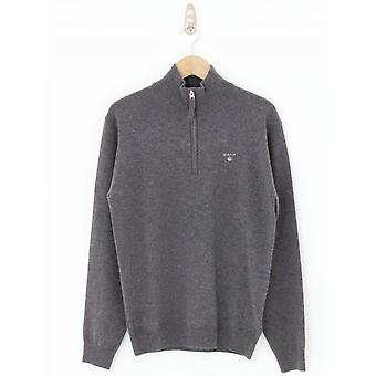 GANT Lambswool Half Zip Knit - Anthracite