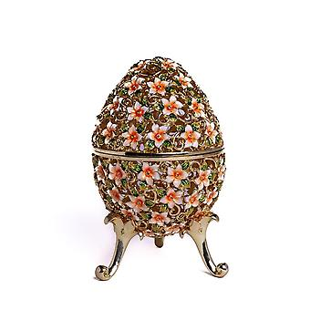 Faberge Egg Decorated With Flowers - Trinket Box