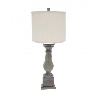 White Washed Wood Finish Table Lamp with Ivory Linen Shade