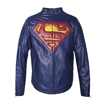 Superman character real leather jacket
