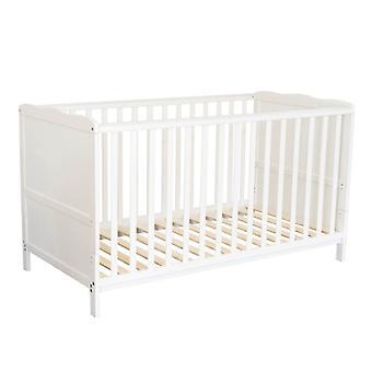 Puckdaddy Baby Cot Nele 140x70cm em Altura Branca Ajustável com Brotos Removíveis
