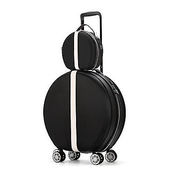 Women Rolling Suitcase With Cosmetic Round Abs+pc Travel Luggage Bag ,universal