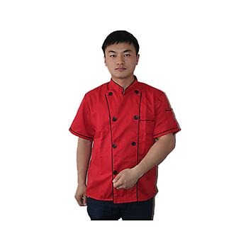Short Sleeve Kitchen Cooker Working Uniform Chef Waiter Waitress Coat Jacket Red