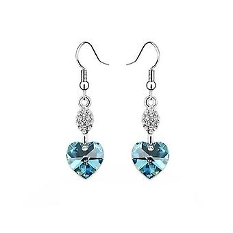 Light Blue Aquamarine - Swarovski Elements Crystal Heart Earrings Sterling Silver