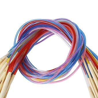 18pcs bambus nåle med fleksible rør hækle nåle - 80cm
