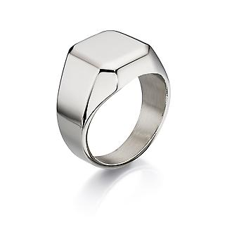 Fred Bennett acero inoxidable anillo de sello plano grande