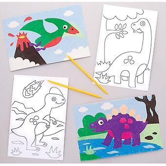 Dinosaurie piesočné umelecké obrázky (balenie po 8)