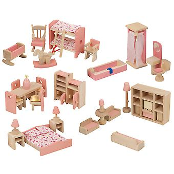 Urbn brinquedos crianças boneca de madeira casa móveis conjuntos de brinquedos (um de cada) um de cada