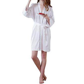 YANGFAN Naisten Kiinteä Väri Viiva Tie Pyjama Kylpytakki