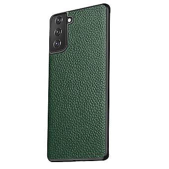 Til Samsung Galaxy S21+ Plus-etui ægte læderslankbeskyttelsesdæksel grøn