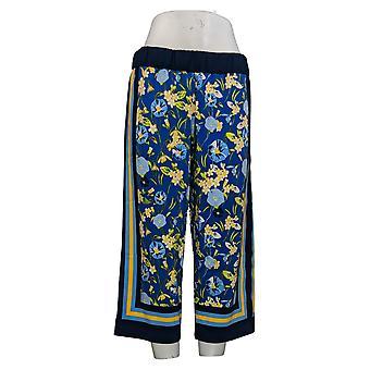 Isaac Mizrahi Live! Women's Petite Pants Sjaal Print Culotte Blue A353382
