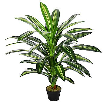 Outsunny 110cm/3.6FT Artificial Dracaena Tree Decorative Plant 40 Leaves with Nursery Pot, Fake Tropical Tree for Indoor Outdoor Décor