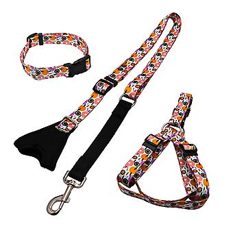 Dog pulling rope chest collar three-piece leash buffer retractable reflective traction belt