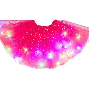 Girls Led Glitter Star Sequins Ballet Dance Tulle Tutu Skirt