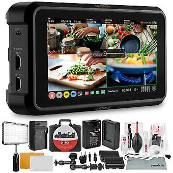 Atomos shogun 7 hdr pro cinema monitor-recorder-switcher with touchscreen, 4-input hd, and more in accessories bundle with light kit, magic ps72903