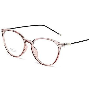 Pink Photochromic Lens Nearsighted Spectacle Steel Oval Eyeglasses