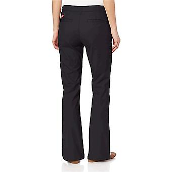 Dickies Women's Flat Front Stretch Twill Pant Slim Fit Bootcut, Black, 16 Short