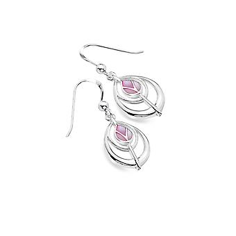 Boucles d'oreilles Sterling Silver - Charles Rennie Mackintosh Tulip + Pink Mother of Pearl Teardrop