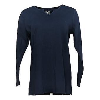 Denim & Co. Women's Top Regular Interlock Tunic W/ Side Slits Blue A389881
