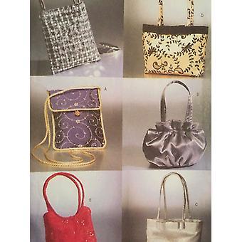 Butterick ompelu kuvio 3796 neljä vuorattu pussit käsilaukut leikkaamaton laukku