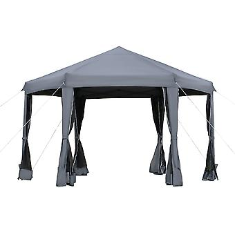 Outsunny 3.2m Pop Up Gazebo Hexagonal Canopy Tent Outdoor Sun Protection with Mesh Sidewalls, Handy Bag, Grey
