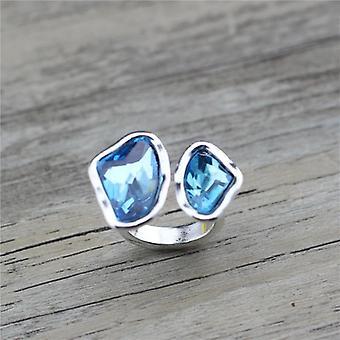 Retro Antique Silver-plated Irregular Crystal Adjustable Wedding Ring