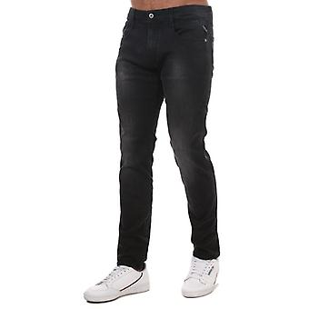 Replay men's grey anbass slim fit jeans