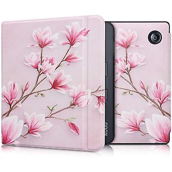 FengChun Hlle kompatibel mit Kobo Libra H2O - Kunstleder eReader Schutzhlle - Magnolien Rosa Wei
