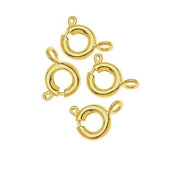 الربيع خاتم المشابك، جولة مع حلقة مغلقة 6mm، 50 قطعة، 22K الذهب مطلي