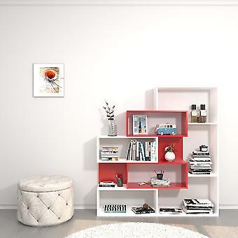 Biblioteket var hvid farve, rød, i Melamine Chipboard, ABS L140xP25xA150 cm