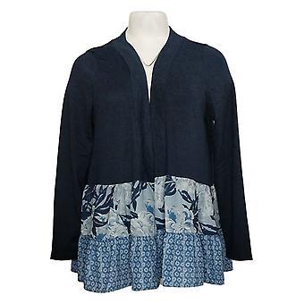DG2 by Diane Gilman Women's Sweater Double Ruffle Cardigan Blue 686764