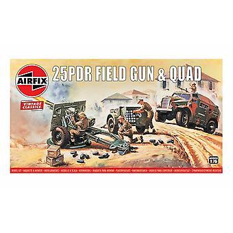 25PDR Field Gun & Quad 1:76 Vintage Klassinen Military Air Fix -mallisarja