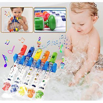 5Pcs/Set πέντε χρώμα νερό φλάουτο παιχνίδι παιδιά παιδιά πολύχρωμα φλάουτα νερό μπανιέρα μπανιέρα μελωδίες παιχνίδια διασκέδαση μουσική ήχους μωρό ντους μπάνιο παιχνίδι