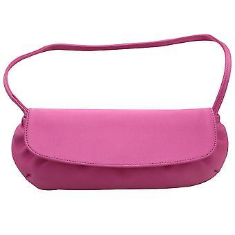 Magrit Cerise Pink Satin Vintage Inspired Clutch Handbag With Short Strap