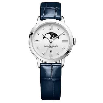 Baume & Mercier M0a10329 Classima Silver And Navy Leather Diamond Moon Phase Ladies Watch