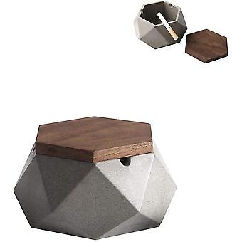 Aschenbecher mit Deckel für Draussen Gray Zement Dekoration Wohnung,118 * 55mm,Grau Aschenbecher