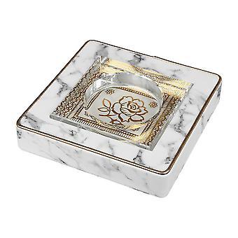 Marble Style Ashtray Smoking Dust Holder Cigarette Square Crystal Ashtray