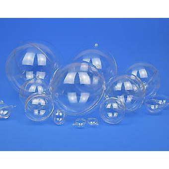 6 Tweedelige 40mm fillable transparante plastic kerstballen ornamenten
