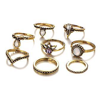 5 Set  Women Trendy Gift Ring Set Vintage Crystal Geometric Gem Casual Knuckle Rings
