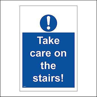 MA417 Take Care On The Stairs! Sign with Circle Exclamation Mark